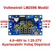 Voltmetreli LM2596 Ayarlı Power Modül