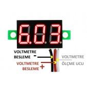 """Voltmetre  0.36"""" 4-30V Kırmızı"""