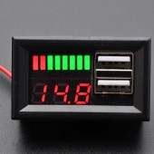 USB Soketli Voltmetreli Akü Kapasite Göstergesi