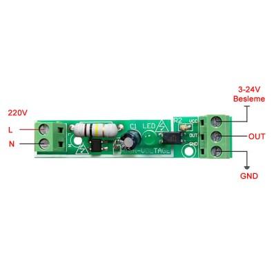 Optokuplör İzolasyonlu 220V Algılayıcı Modül